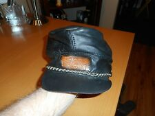 Men's Vintage 80's Harley-Davidson Black Leather Confederate/Rebel Hat/Cap 8""