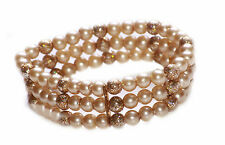 CELESTIAL GOLD PEARLY & GLITTERY BEAD THREE TIERED STRETCHY BRACELET (ZX48)