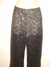 brand new ladies black lace pants trouserswith glitter shorts size 8