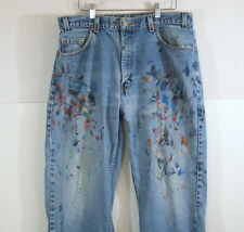 Levis 505 Jeans Made In USA Distressed Paint Splattered 36X30 36X29.5 Red Tab