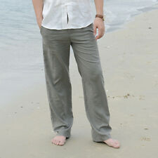 News Mens Linen Loose Pants Beach Drawstring Yoga Casual Long Slacks Trousers