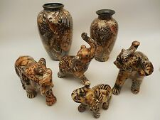 LOT OF 6 La Vie Patchwork Safari Animal Print Elephant Figurines wMatching Vases