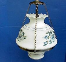 WONDERFUL Vintage Early American Swag Hanging Lamp w Blue Roses. Fenton Glass?