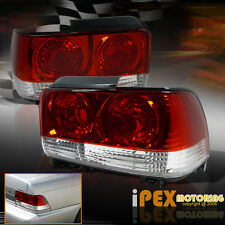Pair 1993-1997 Toyota Corolla CLEAR/RED Tail Lights Free Shipping+Warranty