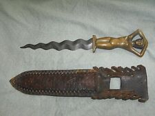 Bronze Nude Woman / Lady Handle Serpentine Knife/Dagger