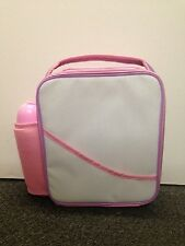 GIRL RETRO  PINK SCHOOL INSULATED LUNCH BOX BAG,BOTTLE,SNACK POT SET