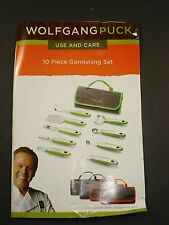 -NEW- Wolfgang Puck 10-piece Garnishing Set - Black - garde manger roll up case