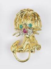 Unique 18K yellow gold Humorous Lion Brooch With Diamonds, Emeralds & Ruby 11.0g