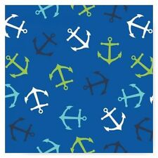 Anchor on Blue Cotton Flannel Fabric  Nautical Marine Life Camelot  By the Yard