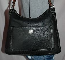 COACH Black Brown Medium Leather Shoulder Hobo Tote Satchel Slouch Purse Bag