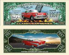 Red 1957 Chevy Belair Hardtop Dollar Bill Collectible Funny Money Novelty Note