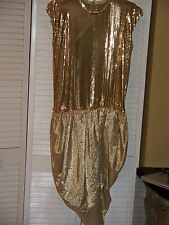 Cache WHITING & DAVIS Gold Metallic Sleeveless Asymmetric Hem Dress Jr Sz 11 EUC