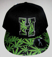 MENS HUSTLER WEED BLACK SNAPBACK HAT ADJUSTABLE CAP ONE SIZE