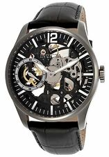 NEW Invicta 12406 Mens Vintage Mechanical Skeleton Black Leather/Dial Watch wind