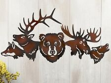 Rustic Northwoods Bear Moose Wolf Metal Wall Art Hanging Lodge Cabin Home Decor
