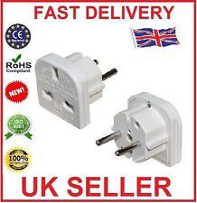 Reino Unido a la UE Euro Europa europea de viajes adaptador de enchufe de 2 Pin Blanco Adaptador