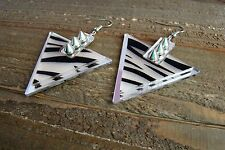 Spike Studded Zebra Animal Print Triangle Dangle Hook Earrings Fashion Jewelry