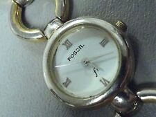 """Fossil ladies watch 6 1/2"""" round links 24mm wide new battery moderate wear"""