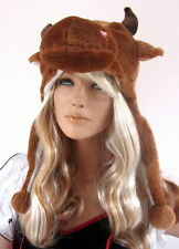 Women's Brown Bull Ears Snood Hood Hat With Horns And Ears Winter Wear