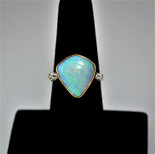 #6825- Gorgeous - Vintage - 14k Art' n Gold - Large Opal Ring - Diamond accents