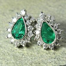 1.60cts Extra Fine Colombian Emerald & Diamond Earrings 18K White Gold ~Stunning