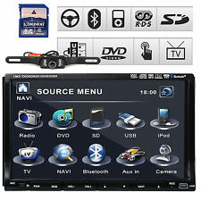 "SONY Lens GPS Map+CAM 7"" HD Double 2 Din Car Radio CD DVD Player 3D Bluetooth TV"