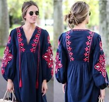ZARA Navy Floral Embroidered Tassel Bows Long Dress Size Small REF 6895/253