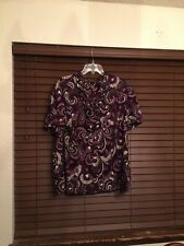 Womens East 5th Multi Color Short Sleeve Button Front Top.  Size 3X
