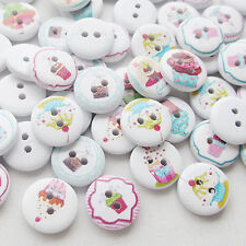 New 100pcs Party Cake Bread Wood Buttons 15mm Sewing Craft Mix Lots