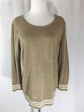 Cable & Gauge Brown 3/4 Sleeve Sweater Women's Size L