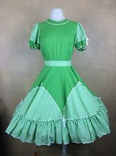 Vitage  Partners Please Malco Modes Green White Gingham Square Dance Dress 12