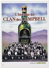 PUBLICITE ADVERTISING 044 1982 CLAN CAMPBEL l'Héritage  whisky scotch
