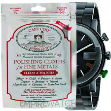 *NEW* CAPE COD FINE METAL POLISHING CLOTHS FOR GUCCI STEEL WATCH - PACK OF 2