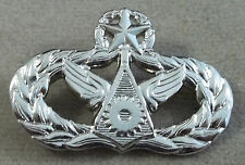US Air Force Master Civil Engineer Badge / Bright Silver Finish / Regular Size