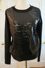 Dressy Diane vonFurstenberg Black Sequined Pullover Sweater M/L NWT $328