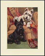 SCOTTISH AND WESTIE TERRIER CUTE LITTLE DOG PRINT MOUNTED READY TO FRAME
