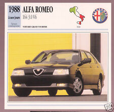 1988-1992 Alfa Romeo 164 3.0 V6 Car Photo Spec Sheet French Card 1989 1990 1991