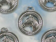 2 Horse Head Charms Winners Circle Tibetan Silver Tone 2 Sided Pendants #P1417