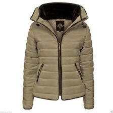 WOMENS LADIES QUILTED PADDED PUFFER BUBBLE FUR COLLAR WARM THICK JACKET COAT NEW