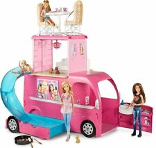 Barbie Camper Van Rosa Pop Up RV 3 piso Convertible Casa Con Cama, Bath & Piscina