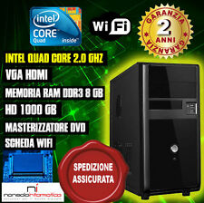 PC DESKTOP INTEL QUAD CORE RAM 8GB HD1TB DVD/WIFI/HDMI FISSO COMPLETO ASSEMBLATO