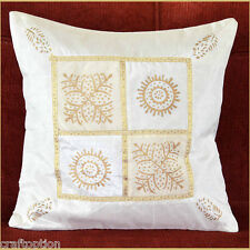 WHITE SILK GOLD BLOCK PRINTING PILLOW COVER/CUSHION COVER FROM INDIA!!