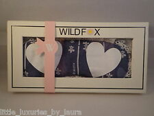 New In Box WILDFOX COUTURE Fleur de Lis Hearts Sleep Mask Grey Skies SOLD-OUT