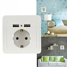 Dual USB Port Electric Wall Charger Station Socket Adapter Power Outlet EU Plug2