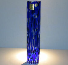 CAESAR CRYSTAL Vase Blue Hand Cut to Clear Overlay Czech Bohemian Bohemia Cased