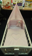 NEW PRETTY PINK LOVE HEART 3PIECE SWINGING CRIB BEDDING SET BUMPER-QUILT-DRAPE