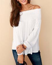 Fashion Women Off Shoulder Casual Loose Long Sleeve Chiffon Shirt Tops Blouse