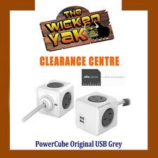 Allocacoc PowerCube 3 m Extended USB Powerboard 4 Outlets 2 USB Ports GREY-NEW!