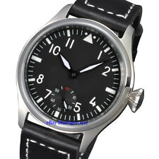 Parnis 47mm Men's Hand Winding Seagull 6498 Movement Watch Luminous Numbers Dial