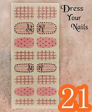 Nail Wrap Foils Full Cover - Pink Patterned Sweet Kiss Silver Glittered #19/21
